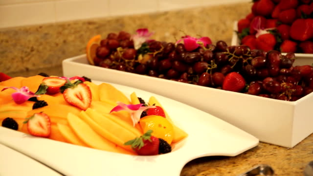 breakfast buffet with various fruits video