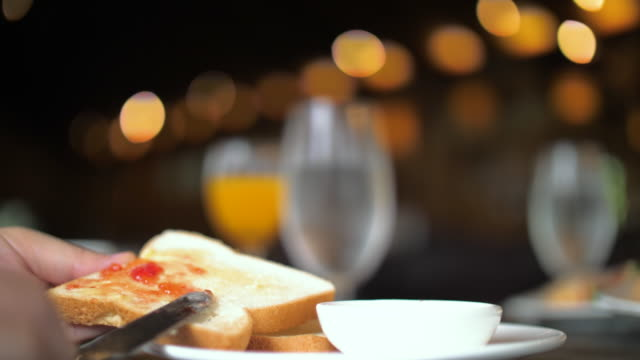 Breakfast with bread and jam