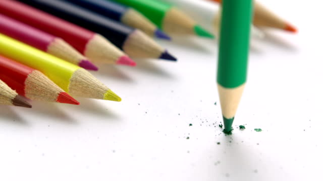 Breaking color pencil, Slow Motion video