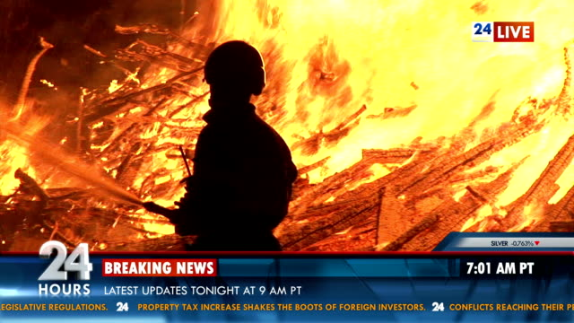 Breaking News About Fire Outbreak HD1080p: Breaking news about firefighters taking care of the fire broke out in the middle of the night. The clip includes added banner. journalist stock videos & royalty-free footage