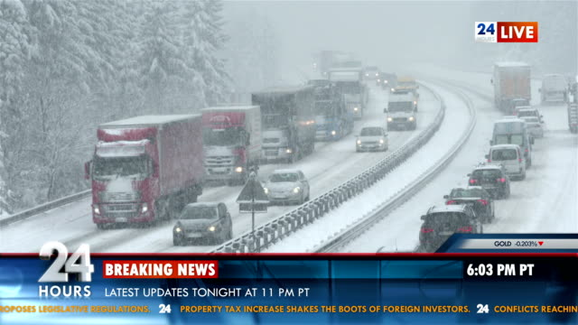 Breaking News About Snow Storm HD1080p: Breaking news about traffic slowly driving on the snow covered highway during the snow storm. The clip includes added banner. meteorology stock videos & royalty-free footage