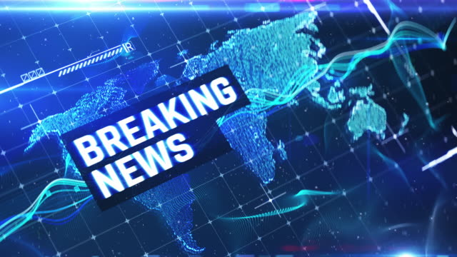 Breaking news blue financial background, news intro, world map. Stock market