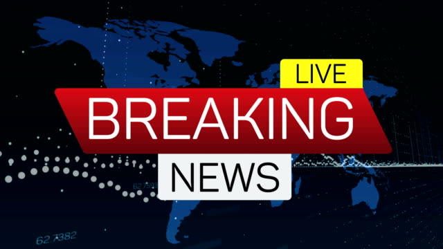 breaking news live motion banner on worldmap. business technology world news background splash screen - banner internetowy filmów i materiałów b-roll