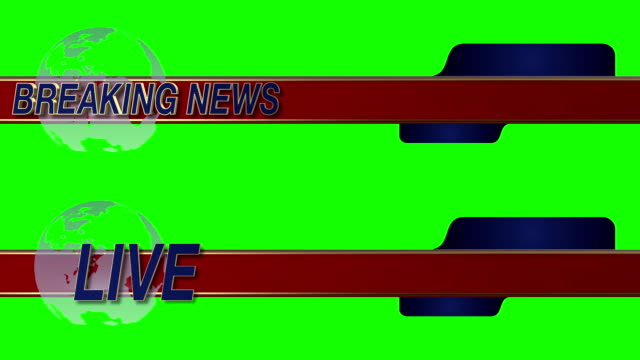 Breaking News Live Sliding Lower Third with Globe on a Green Screen Background video