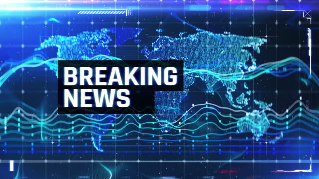Breaking news text on blue background, financial news intro, stock market crash