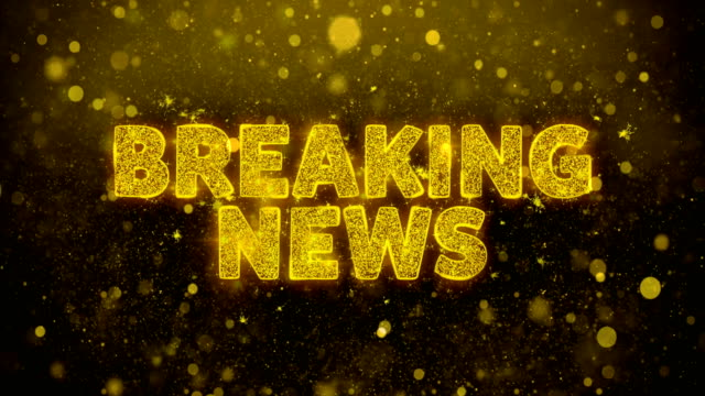 breaking news! text on golden glitter shine particles animation. - newsletter video stock e b–roll