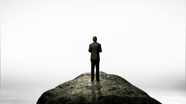 Breaks wall. Businessman standing at the edge of cliff.
