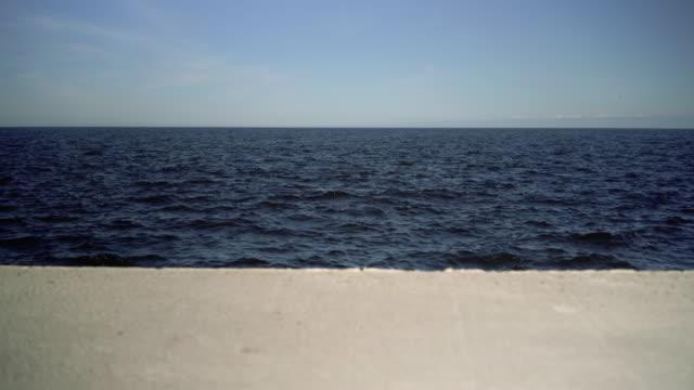 Breakwater in the Baltic Sea in summer