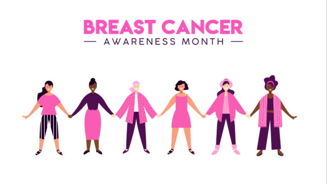 breast cancer awareness women support animation - breast cancer awareness filmów i materiałów b-roll