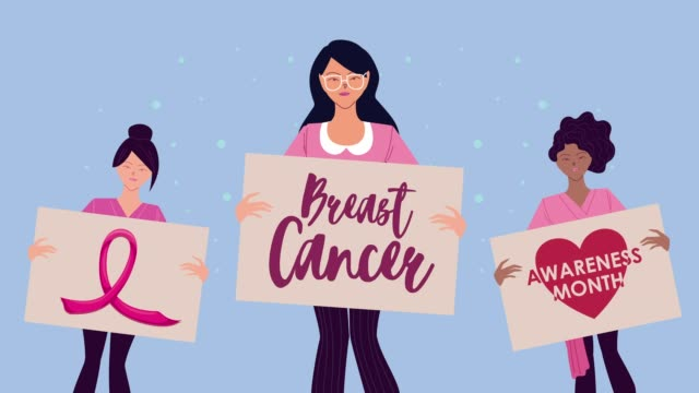 breast cancer campaign animation with interracial girls lifting banners breast cancer campaign animation with interracial girls lifting banners ,FullHD video animated breast cancer awareness stock videos & royalty-free footage
