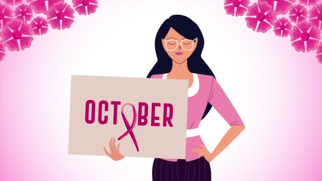 breast cancer campaign animation with woman and october word in banner breast cancer campaign animation with woman and october word in banner ,FullHD video animated breast cancer awareness stock videos & royalty-free footage