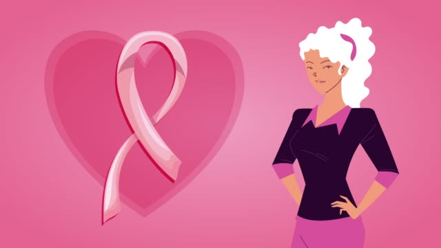 breast cancer campaign animation with woman and ribbon in heart breast cancer campaign animation with woman and ribbon in heart ,FullHD video animated breast cancer awareness stock videos & royalty-free footage
