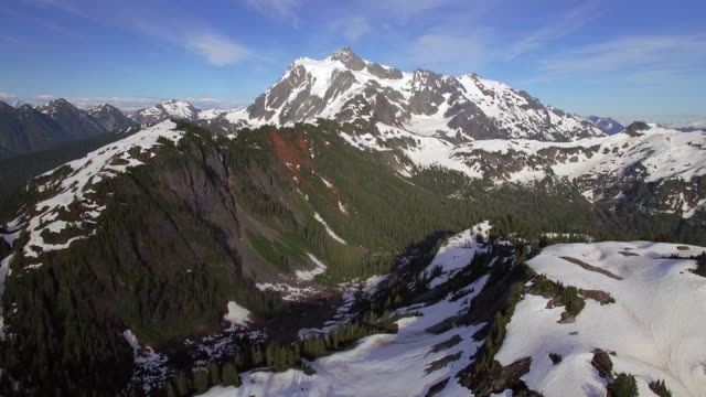 Breathtaking Aerial Flyback of Mt Shuksan in the Cascade Mountain Range video