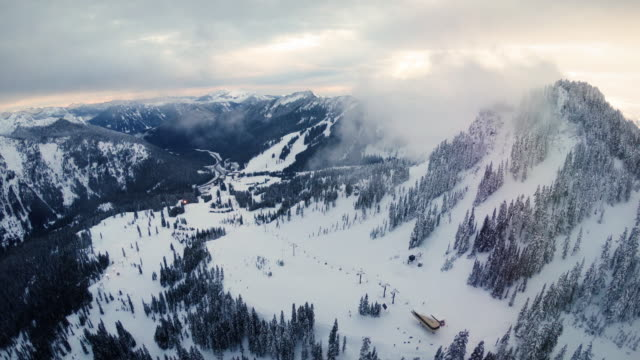 Breathtaking Aerial Over Chairlifts at Ski and Snowboard Winter Resort