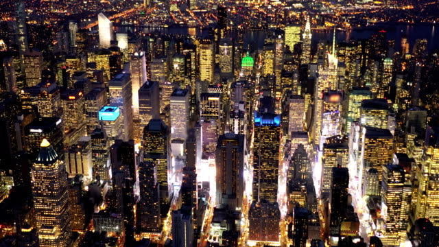 breathtaking view of new york city midtown skyline at night light video