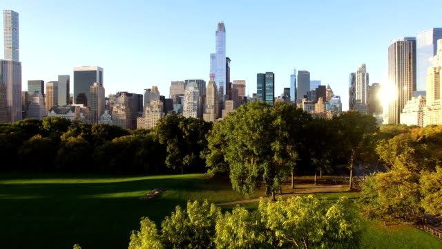 breathtaking view of the central park in new york city at sunrise establishing shot of manhattan landmark scenery central park manhattan stock videos & royalty-free footage