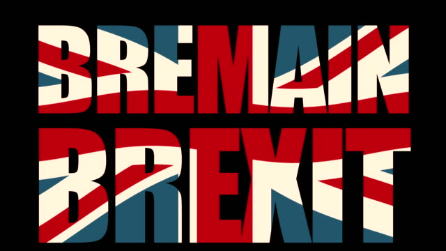 Bremain / Brexit title sequence with animated Union Jack flag.
