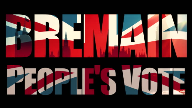 Bremain, People's Vote title sequence with animated Union Jack flag and the Houses Of Parliament