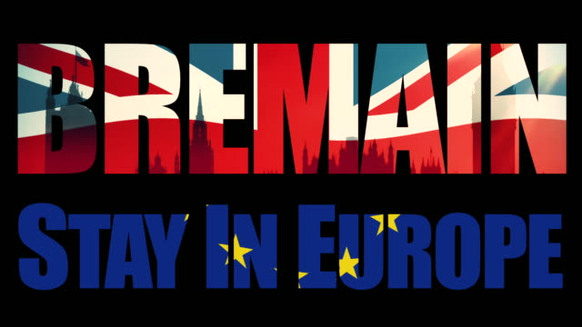 Bremain, Stay In Europe title sequence with animated Union Jack flag and the European Union flag joined in half.