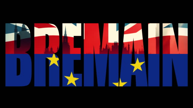 Bremain title sequence with animated Union Jack flag and the European Union flag joined in half.