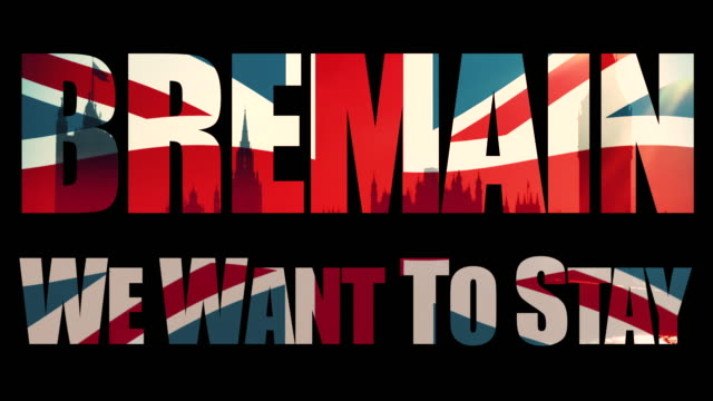 Bremain, We Want To Stay title sequence with animated Union Jack flag and the Houses Of Parliament