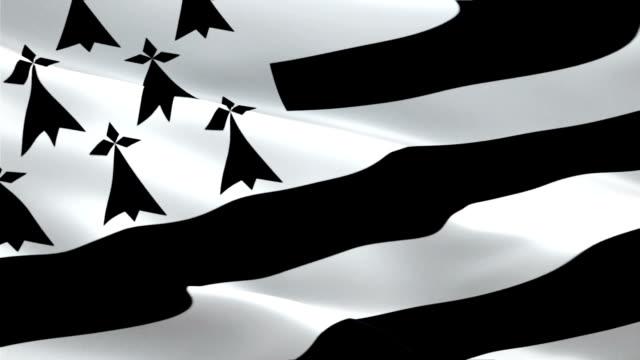 breton flag closeup 1080p full hd 1920x1080 footage video waving in wind. national gwenn-ha-du 3d breton flag waving. sign of brittany seamless loop animation. breton flag hd resolution background 1080p - kiss стоковые видео и кадры b-roll