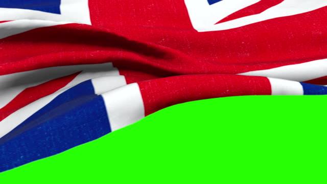 brexit, closeup of waving flag of union jack, uk great britain england symbol, named united kingdom flag on chroma key video