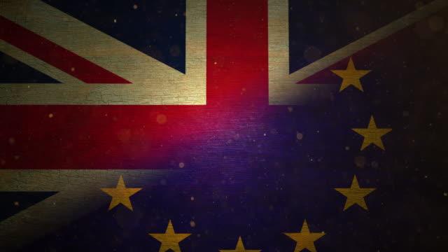 EU/ UK Brexit Flag - Grunge. 4K video