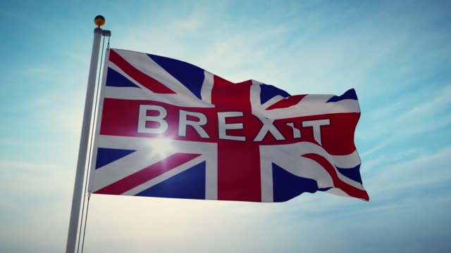 brexit-flaggan vinka skildrar lämna kampanjen för att lämna eu-4k 30fps video - brexit bildbanksvideor och videomaterial från bakom kulisserna