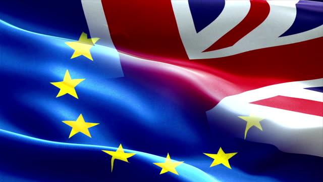 brexit halva eu-flaggan och förenade konungariket storbritannien england flagga viftande, krisen i euroområdet brexit, vote folkomröstningen för uk exit - brexit bildbanksvideor och videomaterial från bakom kulisserna