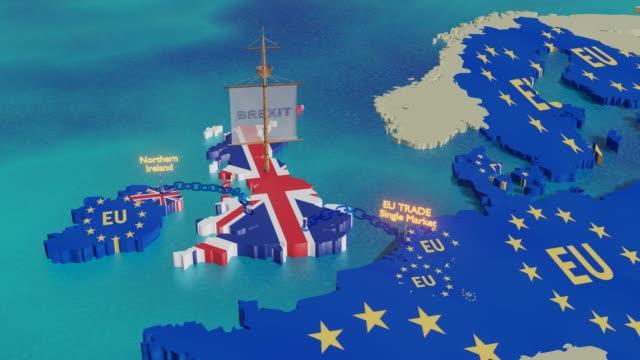 brexit fartyget uk segling bort-illustration animation - brexit bildbanksvideor och videomaterial från bakom kulisserna