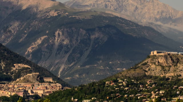 briancon fortified city summer landscape time lapse - hautes alpes stock videos & royalty-free footage