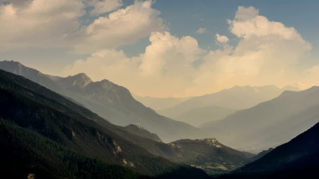 briancon forts alpine valley sunbeams time lapse - hautes alpes stock videos & royalty-free footage