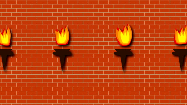 Brick red wall with burning bright torches in cartoon style, 3d rendering backdrop, computer generated