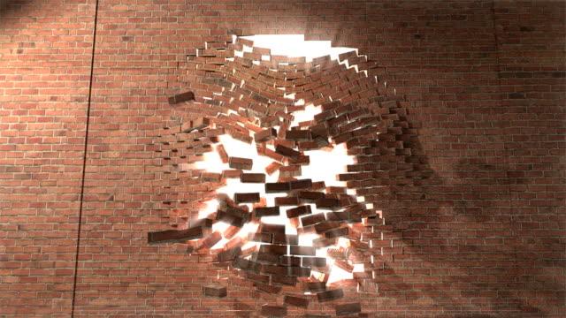 mur z cegły przedzierają się w ogóle bić ucieczka do białej 4 - ściana filmów i materiałów b-roll