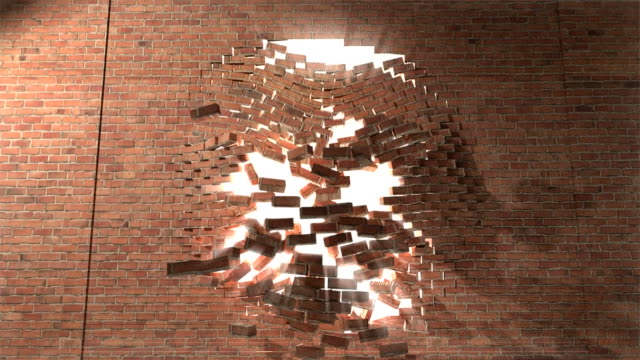 vídeos de stock, filmes e b-roll de parede de tijolos pausa através de vencer smash escape para branco light 4 - wall