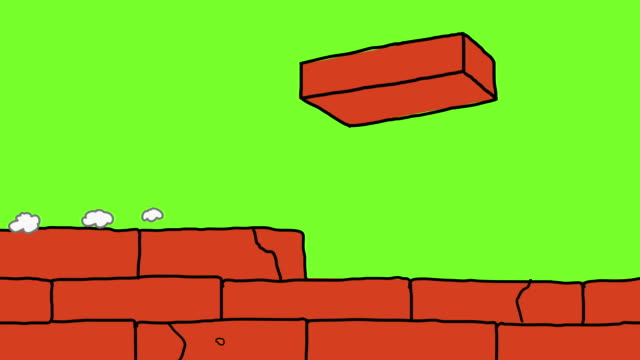 brick wall under construction animation cartoon style - mattone video stock e b–roll