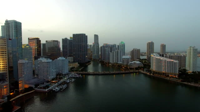 Brickell Miami at dusk aerial drone video aerial drone video footage of Brickell Miami shot at dusk quadcopter stock videos & royalty-free footage