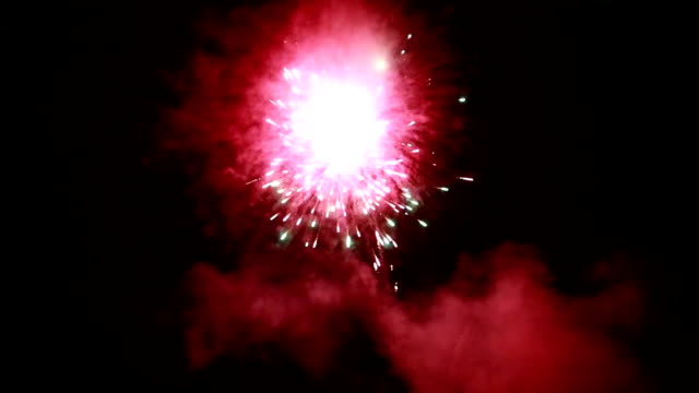 Bridal couple dancing sorrounding by fireworks video