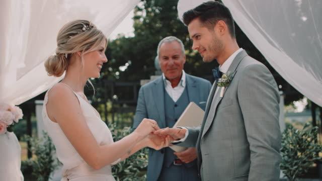 Bride and bridegroom exchanging wedding rings