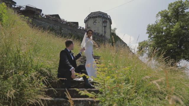 Bride and groom enjoying in their love video