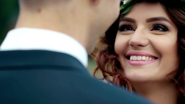 Bride and Groom in Love Looking at Each Other video