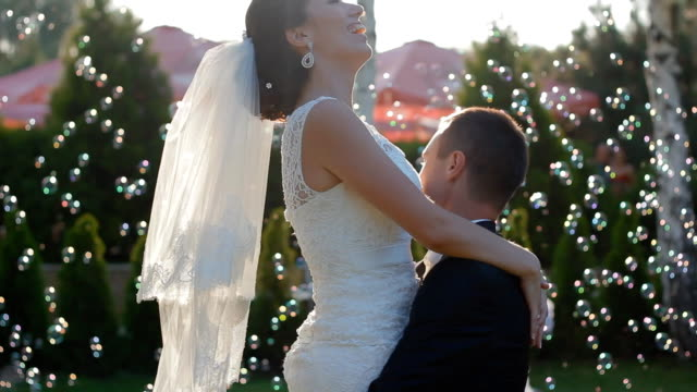 Bride and groom in the wedding dance video