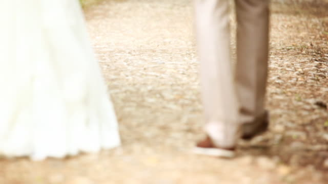 Bride and groom walking in park, kissing. video