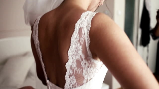 hd: bride getting dressed - wedding fashion stock videos and b-roll footage