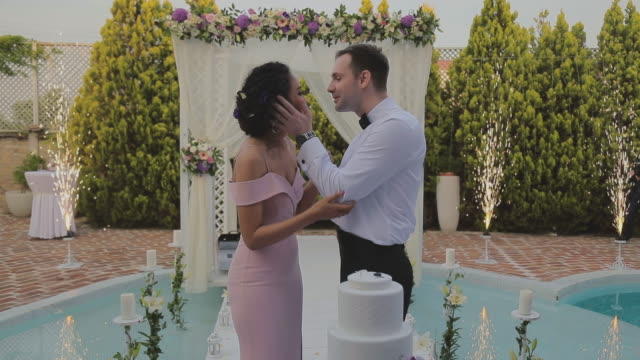 Bride ,groom  and wedding cake video