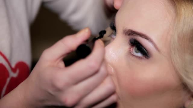 Bride make up, close-up Bride make up, Full HD lip liner stock videos & royalty-free footage