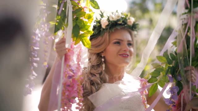Bride on a swing happy bride