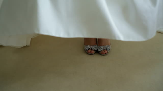 Bride shoes on table - Stock Footage video