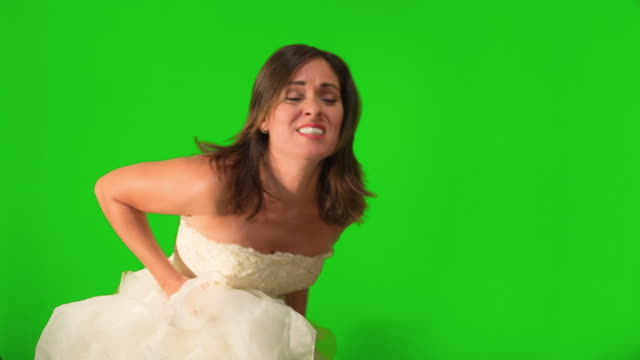 Bride to be Running on Her Wedding Dress on Green Screen Screen video